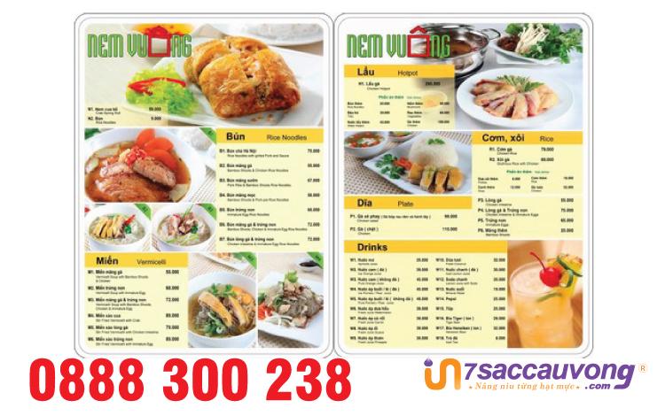 Mẫu menu nhà hàng chuyên nghiệp quận 12.