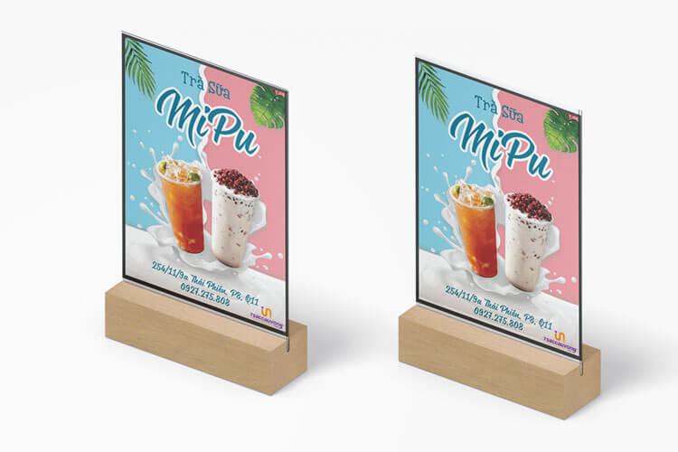 In nhanh menu trà sữa, cafe dạng table tent- 7SCV.