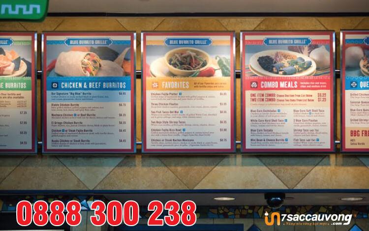 In nhanh menu nhà hàng quận 12 dạng bảng.